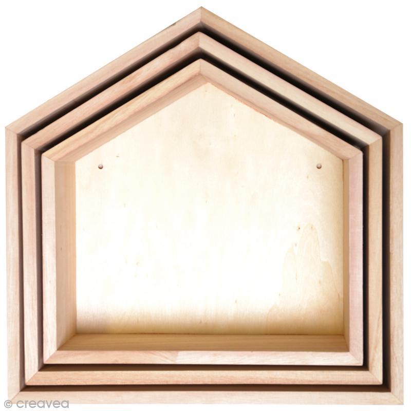 etag res maison d corer en bois 3 pcs meuble d corer creavea. Black Bedroom Furniture Sets. Home Design Ideas