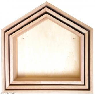 Etagères Maison à décorer en bois - 3 pcs