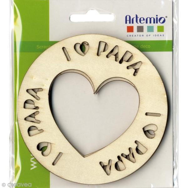 Suspension en bois à décorer - I love papa - Diamètre 10 cm - Photo n°2