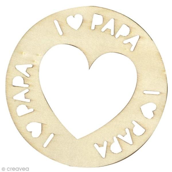 Suspension en bois à décorer - I love papa - Diamètre 10 cm - Photo n°1