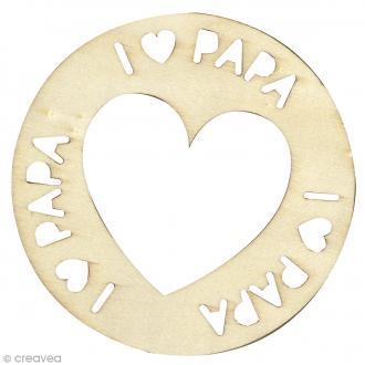Suspension en bois à décorer - I love papa - Diamètre 10 cm