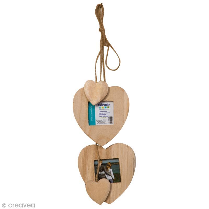 Cadres photos Coeur en bois à suspendre - 2 pcs +2 petits coeurs - Photo n°1