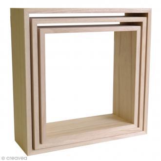 Etagères Carrées à décorer en bois - 3 pcs