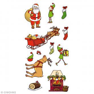 Stickers Artemio Puffies - Père Noël et lutins - 10 pcs