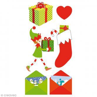 Stickers Artemio Puffies 3D - Lutins et cadeaux - 6 pcs
