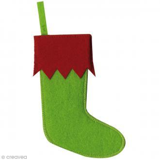 Botte à suspendre en feutrine - Rouge et vert - 15 x 6,7 cm