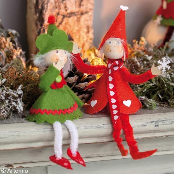Kit feutrine Lutins de Noël à coudre - 8 pcs - 15 cm - Photo n°2