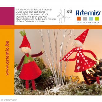 Kit feutrine Lutins de Noël à coudre - 8 pcs - 15 cm
