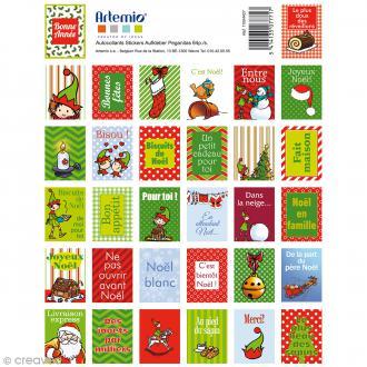 Stickers timbre décoratifs Artemio - Imprimés Noël - 3,3 x 2,7 cm - 64 pcs