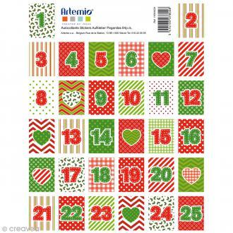 Stickers timbre décoratifs Artemio - Calendrier Avent - 3,3 x 2,7 cm - 64 pcs