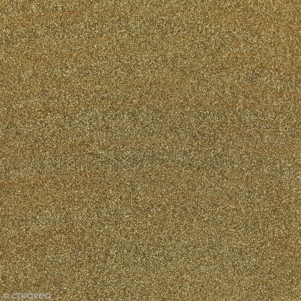 Feuille adhésive - Paillettes or doré - 30 x 30 cm - Photo n°1