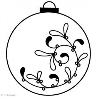 Tampon bois Artemio - Boule Noël - 3,8 cm