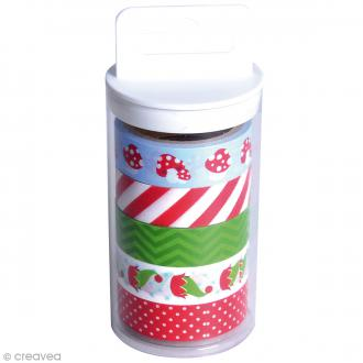 Lot de Masking tape Noël Artemio - 15 mm x 5 m - 5 pcs
