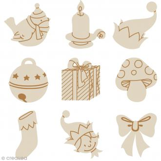 Set de mini silhouettes en bois Noël - 9 pcs