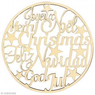 Cercle en bois Ecritures de Noël - 30 cm de diamètre