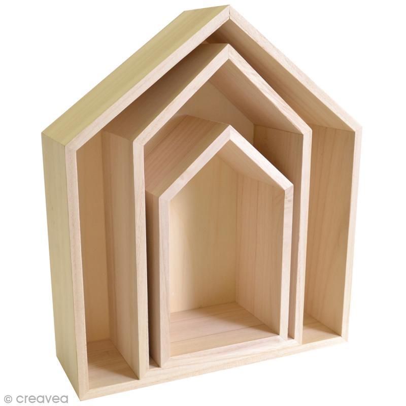 Etagères Maison à décorer en bois - 3 pcs - Photo n°1
