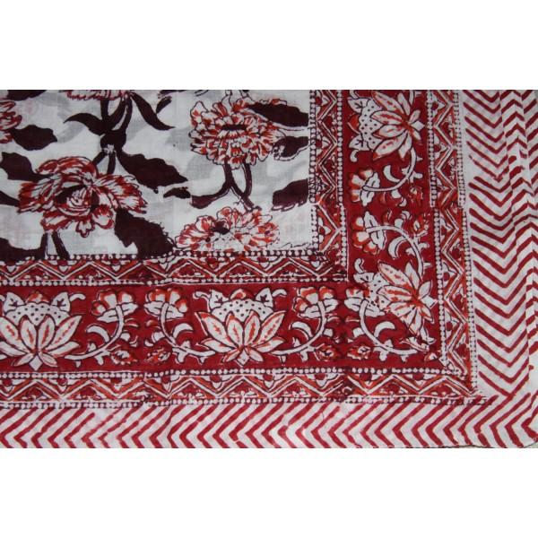 Coupon de voile de coton fleuri batik imprimé à la main en 1.1m par 1.8 m - Photo n°2