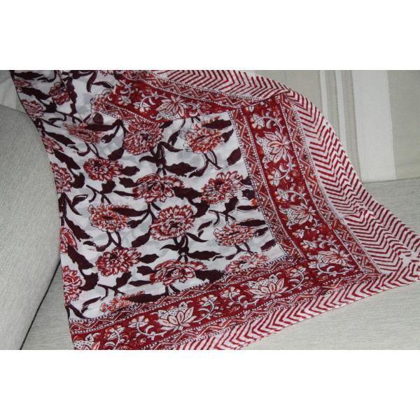 Coupon de voile de coton fleuri batik imprimé à la main en 1.1m par 1.8 m - Photo n°4