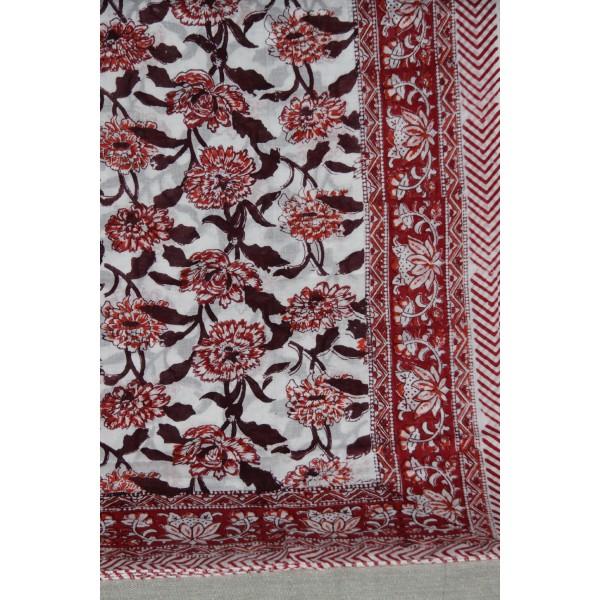 Coupon de voile de coton fleuri batik imprimé à la main en 1.1m par 1.8 m - Photo n°5
