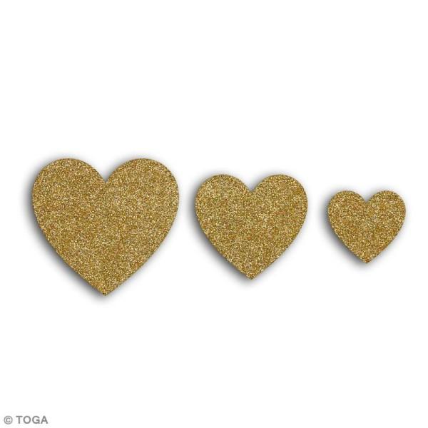 Die cuts Coeurs L'Or de Bombay - Or à paillettes - 12 pcs - Photo n°2