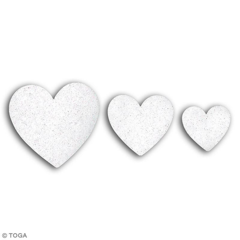 Die cuts Coeurs L'Or de Bombay - Blanc à paillettes - 12 pcs - Photo n°2