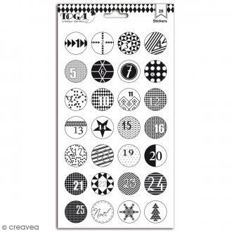 Stickers Toga Boules de Noël - Noir et blanc - 2 planches de 28 pcs