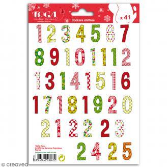 Stickers Toga Chiffres 1 à 25 - Noël traditionnel - 2 planches de 25 chiffres