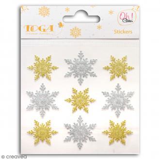 Stickers Oh ! Glitter - Flocons de neige - Or et argent - 9 pcs