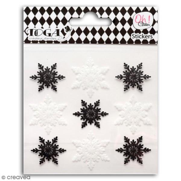 Stickers Oh ! Glitter - Flocons de neige - Noir et blanc - 9 pcs - Photo n°1