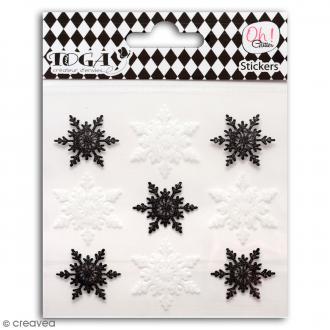 Stickers Oh ! Glitter - Flocons de neige - Noir et blanc - 9 pcs