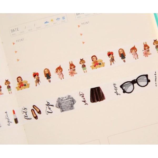 10m Rouleau de Paris de la Mode Vêtements de Fille de Papier Washi Ruban de Masquage Adhésif Décorat - Photo n°3