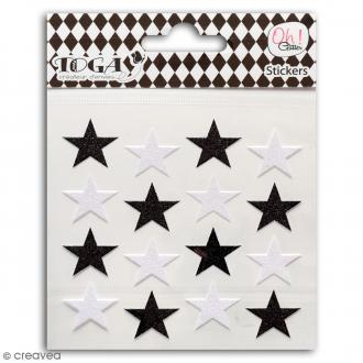 Stickers Oh ! Glitter - Etoiles - Noir et blanc - 16 pcs