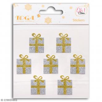 Stickers Oh ! Glitter - Cadeaux - Or et argent - 7 pcs