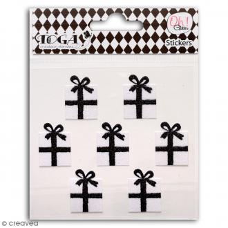 Stickers Oh ! Glitter - Cadeaux - Noir et blanc - 7 pcs