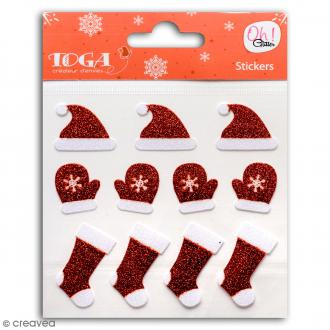 Stickers Oh ! Glitter - Bonnets Père Noël - Rouge et blanc pailletté - 11 pcs