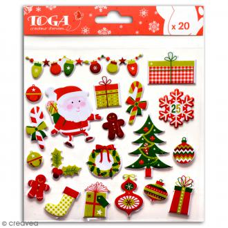 Stickers Noël traditionnel Toga - Rouge, vert - 20 pcs