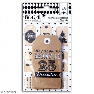 Tags étiquettes kraft - Noël - 5 x 9 cm - 8 pcs