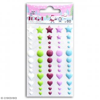 Stickers epoxy Toga - Couleurs vives - 60 pcs
