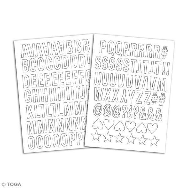 Stickers textiles thermocollants - Alphabet Enjoy blanc - 132 pcs - Photo n°2