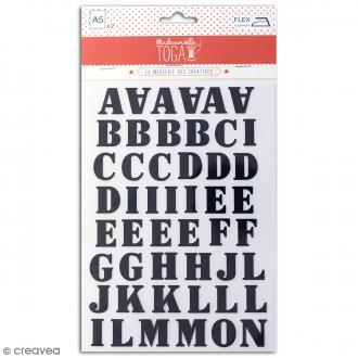 Stickers textiles thermocollants - Alphabet Café noir - 98 pcs