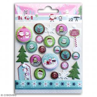 Set d'embellissements scrapbooking - Noël au Pôle Nord - 23 pcs