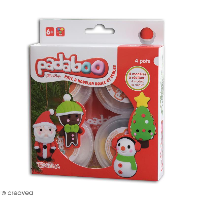 Kit pâte à modeler Noël Padaboo - 4 personnages à décorer - Coffret pâte à modeler - Creavea