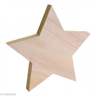 Etoile en bois 3D à décorer - 25 x 25 cm - 1 pc