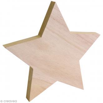 Etoile en bois 3D à décorer - 20 x 20 cm - 1 pc