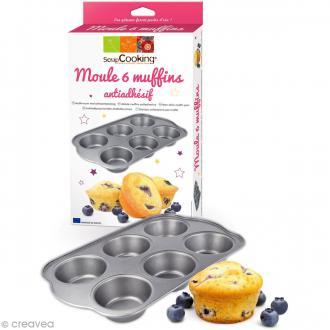 Moule à muffins anti adhésif - 6 gâteaux