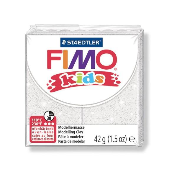 FIMO Kids 42g - Bébé en pâte à modeler Blanche Avec des Paillettes, de l'Argile Polymère, Argile de - Photo n°1