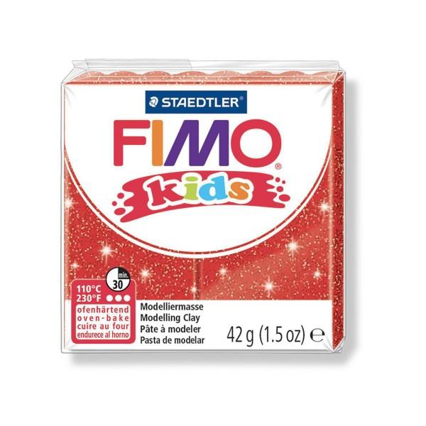 FIMO Kids 42g - les Enfants de la pâte à modeler Rouge Avec des Paillettes, de l'Argile Polymère, Ar - Photo n°1