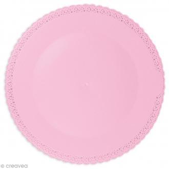 Plat dentelle Rond - Rose - Plastique - 32 cm