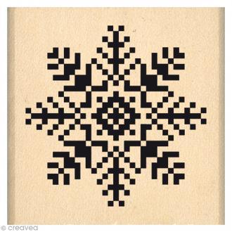 Tampon Noël - Fantaisies Nordiques - Flocon brodé - 4 x 4 cm