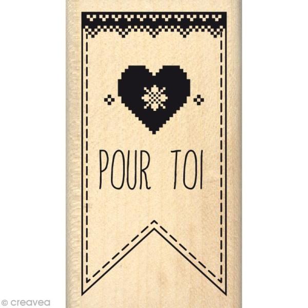 Tampon Noël - Fantaisies Nordiques - Fanion joli coeur Pour toi - 4 x 7 cm - Photo n°1